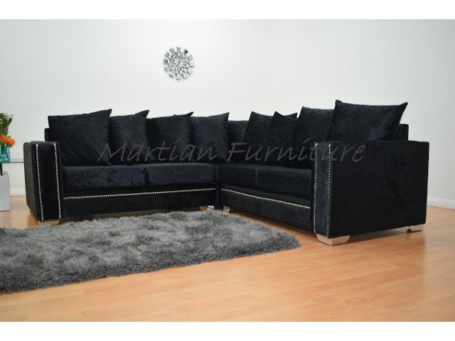 Abbey Crushed Velvet Small Corner 2 X 2 Black Corner Sofas