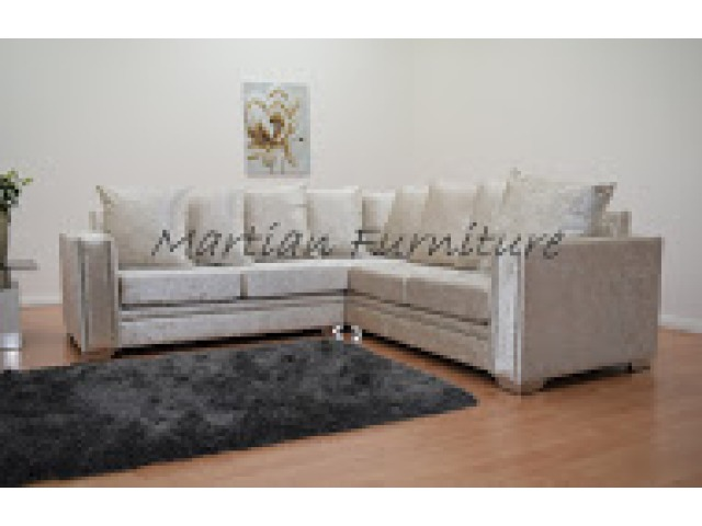 Abbey Crushed Velvet Small Corner 2 X 2 Cream Corner Sofas